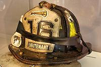 Firefighter helmet on display at the ground zero memorial