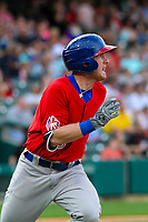 Buffalo Bisons outfielder Billy McKinney (15) runs to first base during an International League game against the Indianapolis Indians on July 28, 2018 at Victory Field in Indianapolis, Indiana. Indianapolis defeated Buffalo 6-4. (Brad Krause/Four Seam Images)