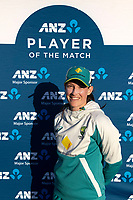 4th April 2021; Bay Oval, Taurange, New Zealand;  Player of the day Australia's Megan Schutt dafter the 1st women's ODI White Ferns versus Australia Rose Bowl cricket match at Bay Oval in Tauranga.