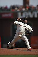 SAN FRANCISCO, CA - APRIL 24:  Santiago Casilla #46 of the San Francisco Giants pitches against the Miami Marlins during the game at AT&T Park on Sunday, April 24, 2016 in San Francisco, California. Photo by Brad Mangin