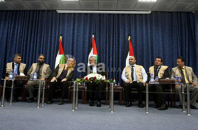 """Palestinian Prime Minister in Gaza Strip, Ismail Haniyeh, meets with the European convoy """"loyalty to Palestine"""", in Gaza City on Feb. 28, 2012. Photo by Ashraf Amra"""