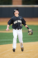 Wake Forest Demon Deacons shortstop Drew Freedman (5) on defense against the Appalachian State Mountaineers at Wake Forest Baseball Park on February 13, 2015 in Winston-Salem, North Carolina.  The Mountaineers defeated the Demon Deacons 10-1.  (Brian Westerholt/Four Seam Images)