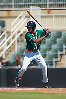 Tristan Pompey (22) of the Greensboro Grasshoppers at bat against the Kannapolis Intimidators at Kannapolis Intimidators Stadium on August 5, 2018 in Kannapolis, North Carolina. The Intimidators defeated the Grasshoppers 9-0 in game two of a double-header.  (Brian Westerholt/Four Seam Images)