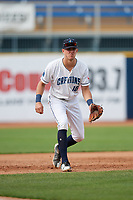 Lake County Captains third baseman Nolan Jones (10) during the first game of a doubleheader against the South Bend Cubs on May 16, 2018 at Classic Park in Eastlake, Ohio.  South Bend defeated Lake County 6-4 in twelve innings.  (Mike Janes/Four Seam Images)