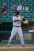 Salt Lake Bees right fielder Kaleb Cowart (22) at bat during a Pacific Coast League game against the Fresno Grizzlies at Chukchansi Park on May 14, 2018 in Fresno, California. Fresno defeated Salt Lake 4-3. (Zachary Lucy/Four Seam Images)
