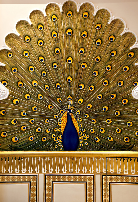 MUMBAI, INDIA - SEPTEMBER 27, 2010: A peacock wall mural in the Rajput Suite in the heritage wing at the renovated Taj Mahal Palace and Tower Hotel in Mumbai. The Hotel has re-opened after the terror attacks of 2008 destroyed much of the heritage wing. The wing has been renovated and the hotel is once again the shining jewel of Mumbai. pic Graham Crouch