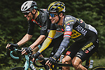Countrymen Luka Mezgec (SLO) Team BikeExchange and Primoz Roglic (SLO) Jumbo-Visma chat during Stage 3 of the 2021 Tour de France, running 182.9km from Lorient to Pontivy, France. 28th June 2021.  <br /> Picture: A.S.O./Pauline Ballet | Cyclefile<br /> <br /> All photos usage must carry mandatory copyright credit (© Cyclefile | A.S.O./Pauline Ballet)
