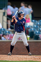 Rome Braves shortstop Riley Delgado (8) at bat during a game against the Lexington Legends on May 23, 2018 at Whitaker Bank Ballpark in Lexington, Kentucky.  Rome defeated Lexington 4-1.  (Mike Janes/Four Seam Images)