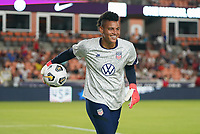 HOUSTON, TX - JUNE 13: Adrianna Franch #21 of the United States warming up before a game between Jamaica and USWNT at BBVA Stadium on June 13, 2021 in Houston, Texas.