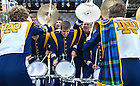 Sept 13, 2014; Drummers from the Notre Dame Marching Band perform at Pan Am Plaza for fans before the Shamrock Series football game in Indianapolis. (Photo by Barbara Johnston/University of Notre Dame