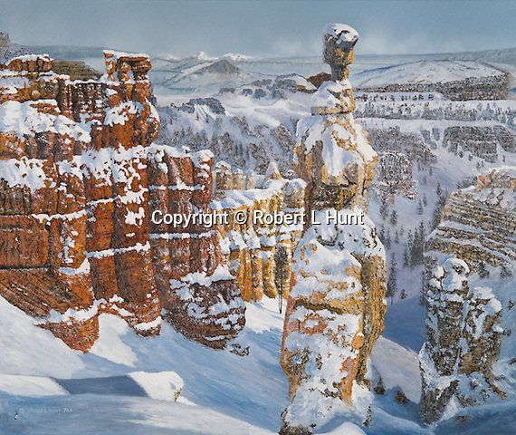"""Hoodoo rock formations line up in winter snow at Bryce Canyon park in Utah in a scenic western landscape. Oil on canvas, 24"""" x 28""""."""