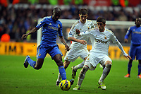 Saturday, 03 November 2012<br /> Pictured L-R: Ramires of Chelsea marked by Ben Davies and Pablo Hernandez of Swansea<br /> Re: Barclays Premier League, Swansea City FC v Chelsea at the Liberty Stadium, south Wales.