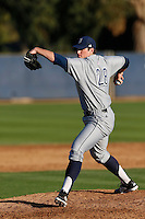 Kyle Hooper #28 of the UC Irvine Anteaters pitches against the Loyola Marymount Lions at Page Field on February 26, 2013 in Los Angeles, California. (Larry Goren/Four Seam Images)