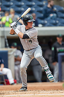 Dayton Dragons catcher Tyler Stephenson (9) at bat against the West Michigan Whitecaps on April 24, 2016 at Fifth Third Ballpark in Comstock, Michigan. Dayton defeated West Michigan 4-3. (Andrew Woolley/Four Seam Images)