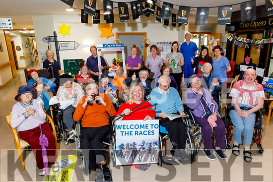 The staff and residents enjoying the Listowel races at the Tralee Community Nursing Unit on Monday.