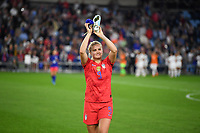 Saint Paul, MN - SEPTEMBER 03: Lindsey Horan #9 of the United States celebrates during their 2019 Victory Tour match versus Portugal at Allianz Field, on September 03, 2019 in Saint Paul, Minnesota.
