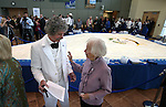 Mark Twain, portrayed by McAvoy Layne, and Kay Winters talk before the Battle Born Birthday Cake Celebration at the Carson Tahoe Regional Medical Center, in Carson City, Nev., on Friday, March 21, 2014. Winters worked on the centennial cake event in 1964. (Las Vegas Review-Journal/Cathleen Allison)
