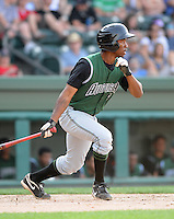 Outfielder Chris Lofton (5) of the Augusta GreenJackets, Class A affiliate of the San Francisco Giants, in a game against the Greenville Drive on April 10, 2011, at Fluor Field at the West End in Greenville, S.C. Photo by Tom Priddy / Four Seam Images