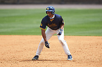 Justin Rodriguez (30) of the North Carolina A&T Aggies takes his lead off of first base against the North Carolina Central Eagles at Durham Athletic Park on April 10, 2021 in Durham, North Carolina. (Brian Westerholt/Four Seam Images)