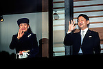 December 23, 2012, Tokyo, Japan - Crown Prince Naruhito, the heir to the Chrysanthemum Throne of Japan, waves to a throng of well-wishers from behind the bullet-proof glass panel of the Imperial Palace balcony in Tokyo on Sunday, December 23, 2012, on the 79th birthday of Emperor Akihoto. His wife, Princess Masako stands at left. (Photo by AFLO) UUK -mis-