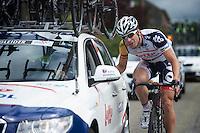 Jürgen Roelandts (BEL) checking in with DS Bart Leysen<br /> <br /> 2013 Ster ZLM Tour <br /> stage 4: Verviers - La Gileppe (186km)