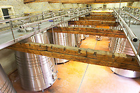 Chateau Grand Moulin. In Lezignan-Corbieres. Les Corbieres. Languedoc. Stainless steel fermentation and storage tanks. France. Europe.