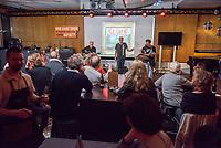 """Die Punk-Band Slime spielte am Dienstag den 27. September 2017 in der Dachlounge des Berliner Radiosender """"radio1"""". Anlass war das Erscheinen der Platte """"Hier und jetzt"""" am 29. September 2017.<br /> Im Bild vlnr.: Slime-Gitarrist Christian Mevs, Slime-Saenger Dirk Jora und Slime-Gitarris Michael """"Elf"""" Meyer.<br /> 27.9.2017, Berlin<br /> Copyright: Christian-Ditsch.de<br /> [Inhaltsveraendernde Manipulation des Fotos nur nach ausdruecklicher Genehmigung des Fotografen. Vereinbarungen ueber Abtretung von Persoenlichkeitsrechten/Model Release der abgebildeten Person/Personen liegen nicht vor. NO MODEL RELEASE! Nur fuer Redaktionelle Zwecke. Don't publish without copyright Christian-Ditsch.de, Veroeffentlichung nur mit Fotografennennung, sowie gegen Honorar, MwSt. und Beleg. Konto: I N G - D i B a, IBAN DE58500105175400192269, BIC INGDDEFFXXX, Kontakt: post@christian-ditsch.de<br /> Bei der Bearbeitung der Dateiinformationen darf die Urheberkennzeichnung in den EXIF- und  IPTC-Daten nicht entfernt werden, diese sind in digitalen Medien nach §95c UrhG rechtlich geschuetzt. Der Urhebervermerk wird gemaess §13 UrhG verlangt.]"""