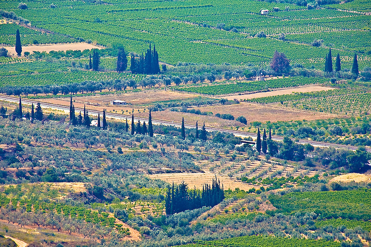 From the hillside, a beautiful overlook on the countryside of Peloponnese can be found.