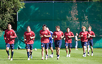 USA warms up before training in Hamburg, Germany, for the 2006 World Cup, June, 8, 2006.