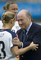 FIFA president Sepp Blatter and Kristine Lilly. The United States (USA) and North Korea (PRK) played to a 2-2 tie during a FIFA Women's World Cup China 2007 opening round Group B match at Chengdu Sports Center Stadium, Chengdu, China, on September 11, 2007.