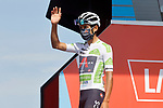 White Jersey Egan Bernal (COL) Ineos Grenadiers at sign on before the start of Stage 16 of La Vuelta d'Espana 2021, running 180km from Laredo to Santa Cruz de Bezana, Spain. 31st August 2021.     <br /> Picture: Luis Angel Gomez/Photogomezsport   Cyclefile<br /> <br /> All photos usage must carry mandatory copyright credit (© Cyclefile   Luis Angel Gomez/Photogomezsport)
