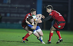 No way through for Connacht centre Eoin Griffin as Scarlets pair Owen Williams and Andy Fenby close in..Scarlets v Connacht.Parc y Scarlets.Rabo Pro12.08.02.13.©Steve Pope-SPORTINGWALES