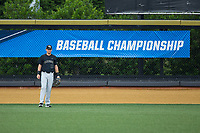 Wake Forest Demon Deacons right fielder Keegan Maronpot (13) on defense against the West Virginia Mountaineers in Game Six of the Winston-Salem Regional in the 2017 College World Series at David F. Couch Ballpark on June 4, 2017 in Winston-Salem, North Carolina.  The Demon Deacons defeated the Mountaineers 12-8.  (Brian Westerholt/Four Seam Images)