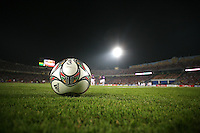 A soccer ball sits on the field during warm ups before the match against Costa Rica during the FIFA Under 20 World Cup Round of 16 match between Egypt and Costa Rica at the Cairo International Stadium on October 06, 2009 in Cairo, Egypt.