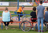 13 SEP 2014 - IPSWICH, GBR - Spectators watch a first semi final heat at the  2014 British Open Club Cycle Speedway Championships at Whitton Sports & Community Centre in Ipswich, Great Britain (PHOTO COPYRIGHT © 2014 NIGEL FARROW, ALL RIGHTS RESERVED)