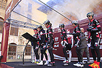 BTC City Ljubjana team at sign on before start the 2015 Strade Bianche Women Elite cycle race 103km over the white gravel roads from San Gimignano to Siena, Tuscany, Italy. 8th March 2015<br /> Photo: Eoin Clarke www.newsfile.ie