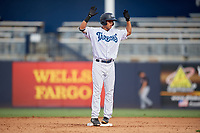 Tampa Tarpons Omar Carrizales (12) during a Florida State League game against the Jupiter Hammerheads on July 26, 2019 at George M. Steinbrenner Field in Tampa, Florida.  Tampa defeated Jupiter 2-0.  (Mike Janes/Four Seam Images)