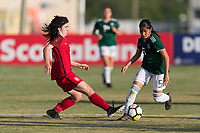 Bradenton, FL - Sunday, June 12, 2018: Sophie Jones, Ximena Rios during a U-17 Women's Championship Finals match between USA and Mexico at IMG Academy.  USA defeated Mexico 3-2 to win the championship.