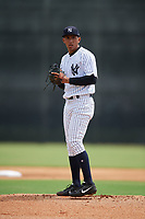 GCL Yankees West starting pitcher Leonardo Pestana (48) gets ready to deliver a pitch during a game against the GCL Tigers West on August 10, 2018 at Yankee Complex in Tampa, Florida.  GCL Yankees West defeated GCL Tigers West 6-5.  (Mike Janes/Four Seam Images)