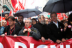Ignacio Fernández Toxo and Cándido Méndez taking part in a International Workers' Day demonstration march through the streets of Madrid city.1 May 2012. (Alterphotos/Alconada)