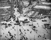 San Francisco Earthquake of 1906: Bird's-eye view, surrounding Ferry Building. Looking west on Market Street. Photographed from tower<br /> <br /> San Francisco 1906 Earthquake  - The San Francisco earthquake of 1906 was a major earthquake that struck San Francisco and the coast of Northern California at 5:12 a.m. on Wednesday, April 18, 1906. Devastating fires broke out in the city and lasted for several days. As a result of the quake and fires, about 3,000 people died and over 80% of San Francisco was destroyed.<br /> <br /> The earthquake and resulting fire are remembered as one of the worst natural disasters in the history of the United States