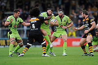 Alex Corbisiero of Northampton Saints is high tackle by Ashley Johnson of Wasps during the Premiership Rugby Round 2 match between Wasps and Northampton Saints at Adams Park on Sunday 14th September 2014 (Photo by Rob Munro)