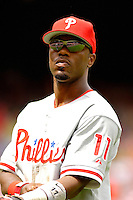 11 June 2006: Jimmy Rollins, shortstop for the Philadelphia Phillies, looks back to the dugout during a game against the Washington Nationals at RFK Stadium, in Washington, DC. The Nationals shut out the visiting Phillies 6-0 to take the series three games to one...Mandatory Photo Credit: Ed Wolfstein Photo..