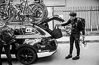 Jasper Stuyven (BEL/Trek-Segafredo) dropping his rainbag in the teamcar pre-race<br /> <br /> 27th Challenge Ciclista Mallorca<br /> Trofeo Campos-Porreres-Felanitx-Ses Salines: 176km