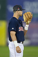 Salem Red Sox third baseman Jordan Betts (41) chews on the strings of his glove during the game against the Winston-Salem Dash at LewisGale Field at Salem Memorial Ballpark on May 13, 2015 in Salem, Virginia.  The Red Sox defeated the Dash 8-2.  (Brian Westerholt/Four Seam Images)