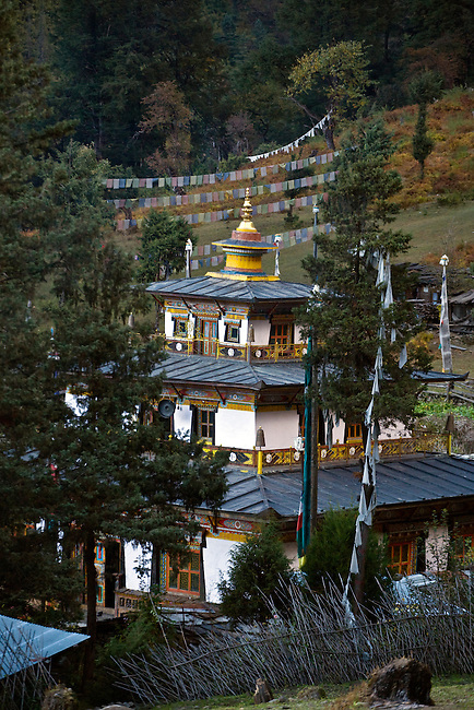 A TIBETAN BUDDHIST MONASTERY  in a remote Himalayan valley - NEPAL