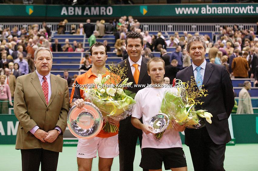 26-2-06, Netherlands, tennis, Rotterdam, the winner Stepanek , runner up c.Rochus, Jos van der Vegt(ahoy-r)tournament director Richard Krajicek(m) and