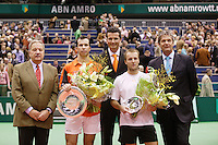 26-2-06, Netherlands, tennis, Rotterdam, the winner Stepanek , runner up c.Rochus, Jos van der Vegt(ahoy-r)tournament director Richard Krajicek(m) and