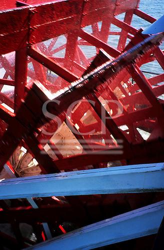 New Orleans, USA. Red paddlewheel of paddle steamer 'Natchez' on Mississippi River.
