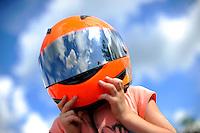Cory Ladd struggles under a helmet